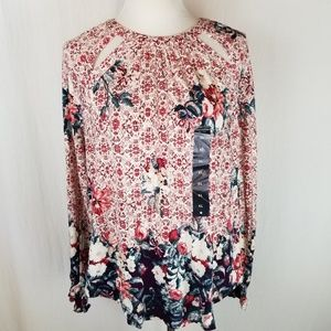 Lucky Brand Tops - Lucky Brand Braided Knit Top Floral Cut Out XL NWT